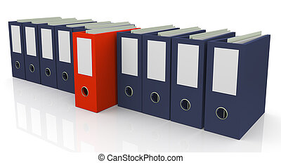 3d file box - 3d set of office files with one unique red...