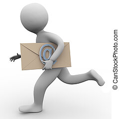 3d man with email envelope - Running 3d man carrying email...