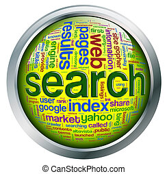Search engine wordcloud - Shiny button with metal frame with...