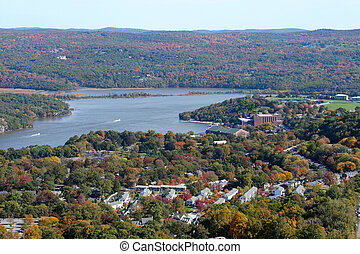 Hudson Valley - View of the Hudson River and a portion of...