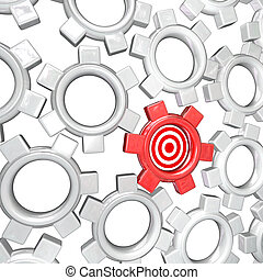 One Gear is Singled Out as Vital Part - Targeted Bulls-Eye -...