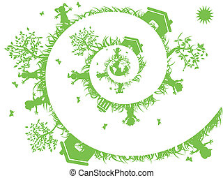 spiral green - the background of spiral green for eco design