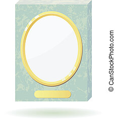Vector illustration of a marble slab with a frame for photos.