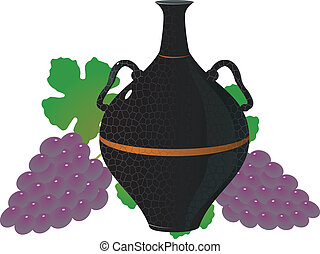 Amphora of wine and grapes vector