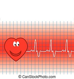 heart and heartbeat - illustration of vector heart and...