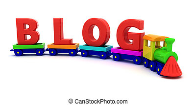 Blog - Red letters Blog on the toy train