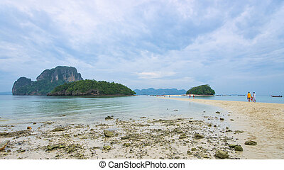 Isthmus - Sandy isthmus to the island in the sea, Thailand