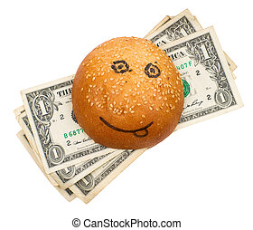 Rich burger - Money-stuffed burger with smile isolated on...