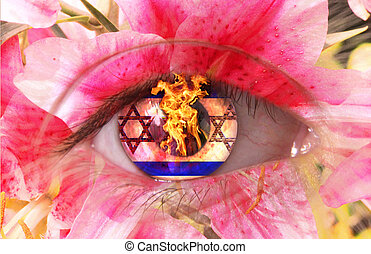 eye  - A human burning eye as flower with Stars of David