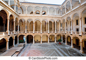 courtyard of Palazzo Reale in Palermo - Interior court of...