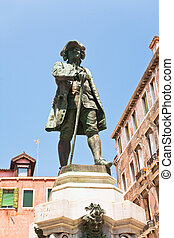 Monument to playwright Carlo Goldoni, Venice - Monument to...