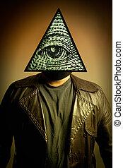 homem, Desgastar, Illuminati, olho, providência, máscara