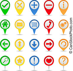 Map markers with icons on white background