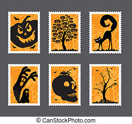 Halloween stamp set - Collection of Halloween stamps with...