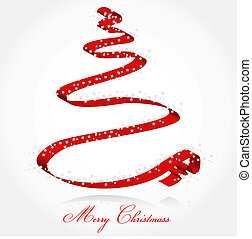 Ribbon Christmass tree - Christmass card with tree made of...