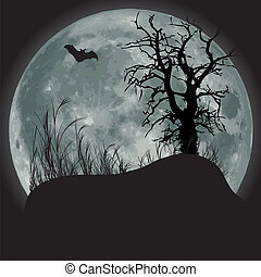 Moon scene - Scary fullmoon scene with bat and tree