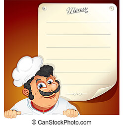 Chef with Blank Menu - Illustrated Background with Smiling...