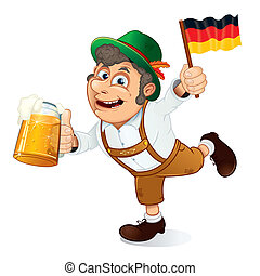 German Man - Funny Oktoberfest Man with Beer Stein and Flag...