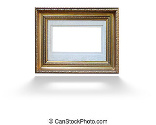 Empty picture gold frame with decorative pattern isolated