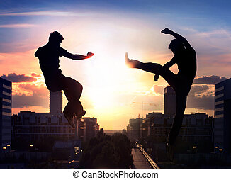 dois, capoeira, lutadores, sobre, cidade, fundo