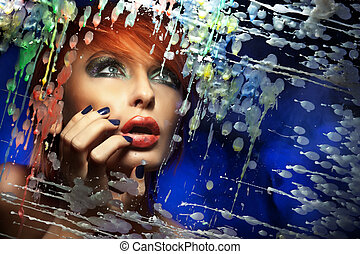 Colorful portrait of a beautiful redhead woman