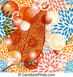vector autumn leaf with bubbles on seamless floral pattern -...