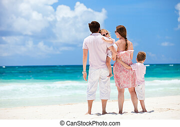 Family on Caribbean vacation - Family of four on Caribbean...