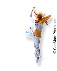 atractivo, joven, mujer, bailando, pelo, vuelo