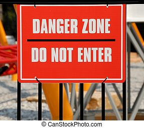 Danger Zone Sign - Danger zone warning sign at amusement...