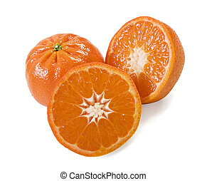 Fresh healthy mandarin citrus fruit on white background