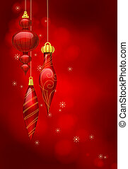 Christmas baubles - Christmas background with baubles and...