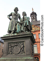 Monument to the brothers Grimm in Hanau, Germany. - The...
