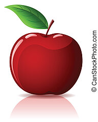 Red apple - Beautiful red apple with green leaf isolated on...
