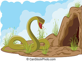 Angry snake near cave - landscape with angry snake near cave...