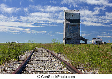 Farrow grain elevator - grain elevator and railway in Farrow...