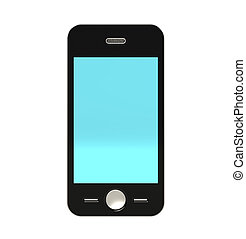 Mobile Phone with Blue Screen. Isolated
