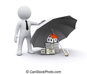 3D man with umbrella protecting financial investments