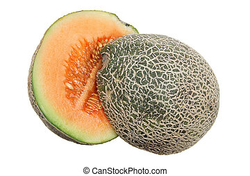 Halves of Rock Melon on White Background