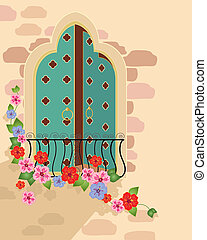 asian window - an illustration of a fancy asian style window...