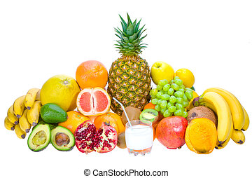 fresh fruits - Assortment of fresh fruits and coconut juice