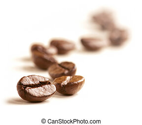 Coffee Beans draw a zigzag line isolated on white Soft focus...