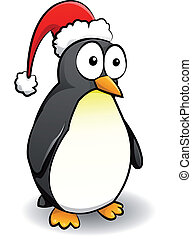 Penguin with christmas cap on