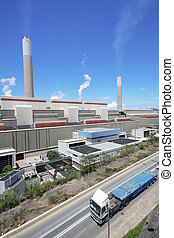 coal fired power station and car moving, motion blur