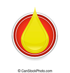 oil drop symbol yellow color on the circle