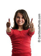 Preteen girl two thumbs up - A preteen girl frontal with big...
