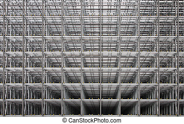Steel frame of a business building under construction