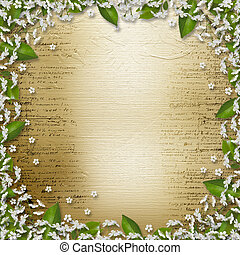 Writing abstract background with frame floral beautiful...