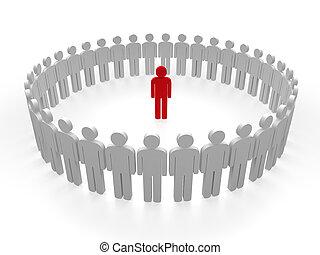 3d leader red team circle people teamwork
