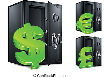 Bank safe and money symbol