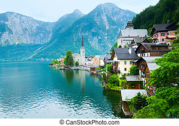 Hallstatt view Austria - Beautiful summer Alpine Hallstatt...